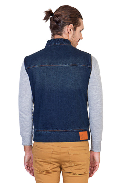 Sleeveless Dark Blue Men's Denim Jacket with Zipper