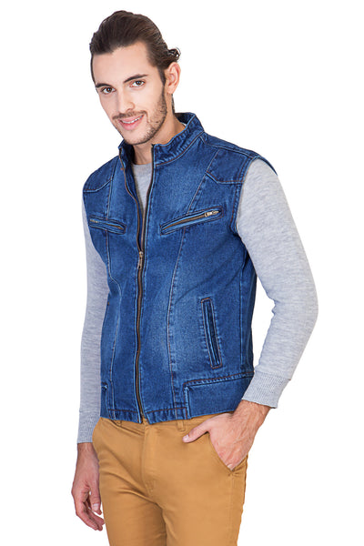 Sleeveless Light Blue Men's Denim Jacket with Zipper
