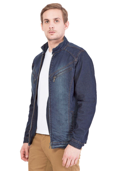 Krossstitch Full Sleeve Men's Denim Jacket with Zipper…