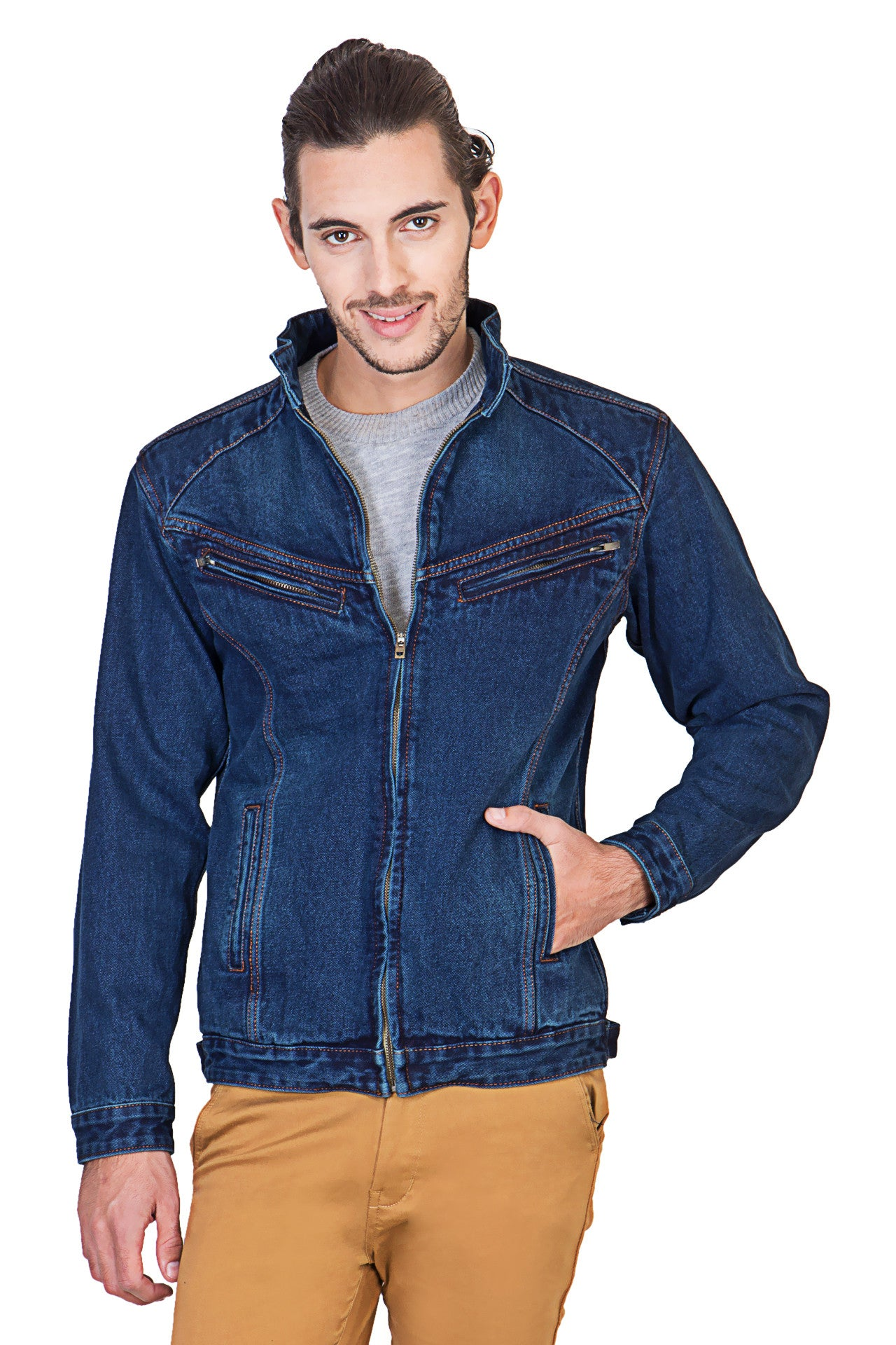 Full Sleeve Blue Men's Denim Jacketwith Zipper