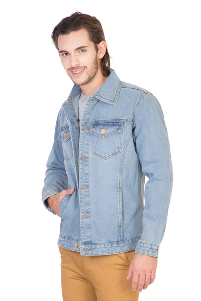 Full Sleeve Light Blue Men's Denim Jacket with Brass Buttons