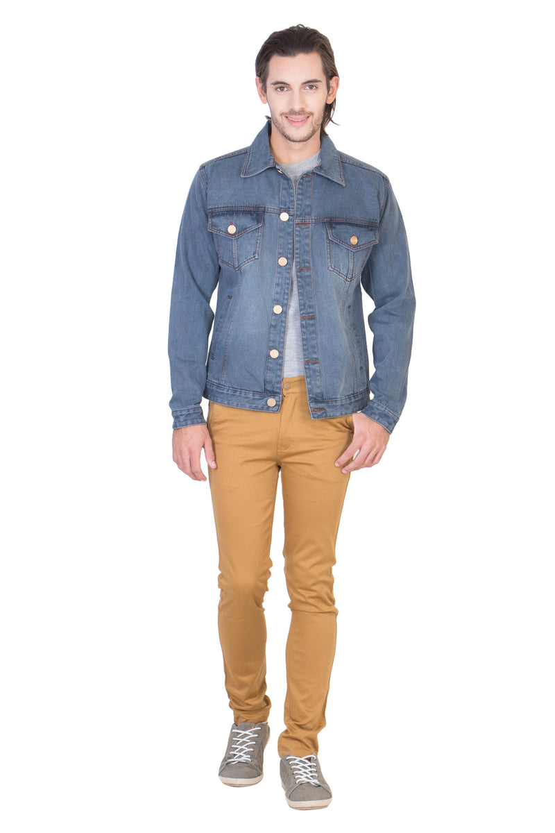 Full Sleeve Tinted Light Grey Men's Denim Jacket with Brass Buttons