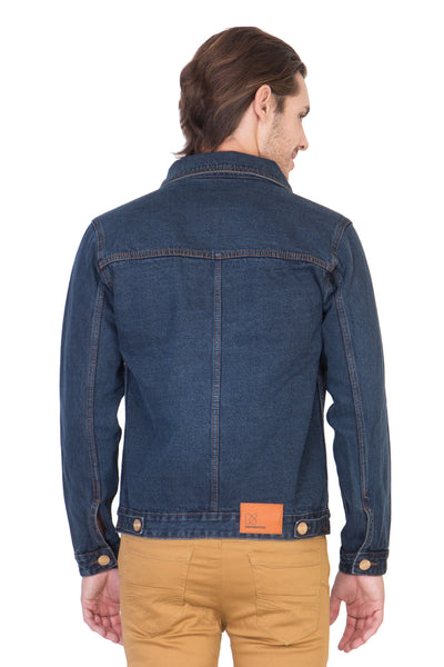 Full Sleeve Dark Blue Men's Denim Jacket with Brass Buttons