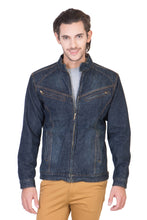 Load image into Gallery viewer, Full Sleeve Tinted Blue Men's Denim Jacket with Zipper