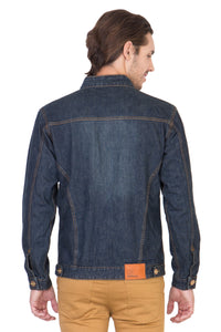Full Sleeve Tinted Blue Men's Denim Jacket with Zipper