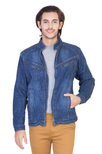 Full Sleeve Light Blue Men's Denim Jacket with Zipper