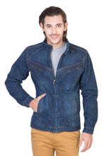 Load image into Gallery viewer, Full Sleeve Blue Men's Denim Jacket with Zipper
