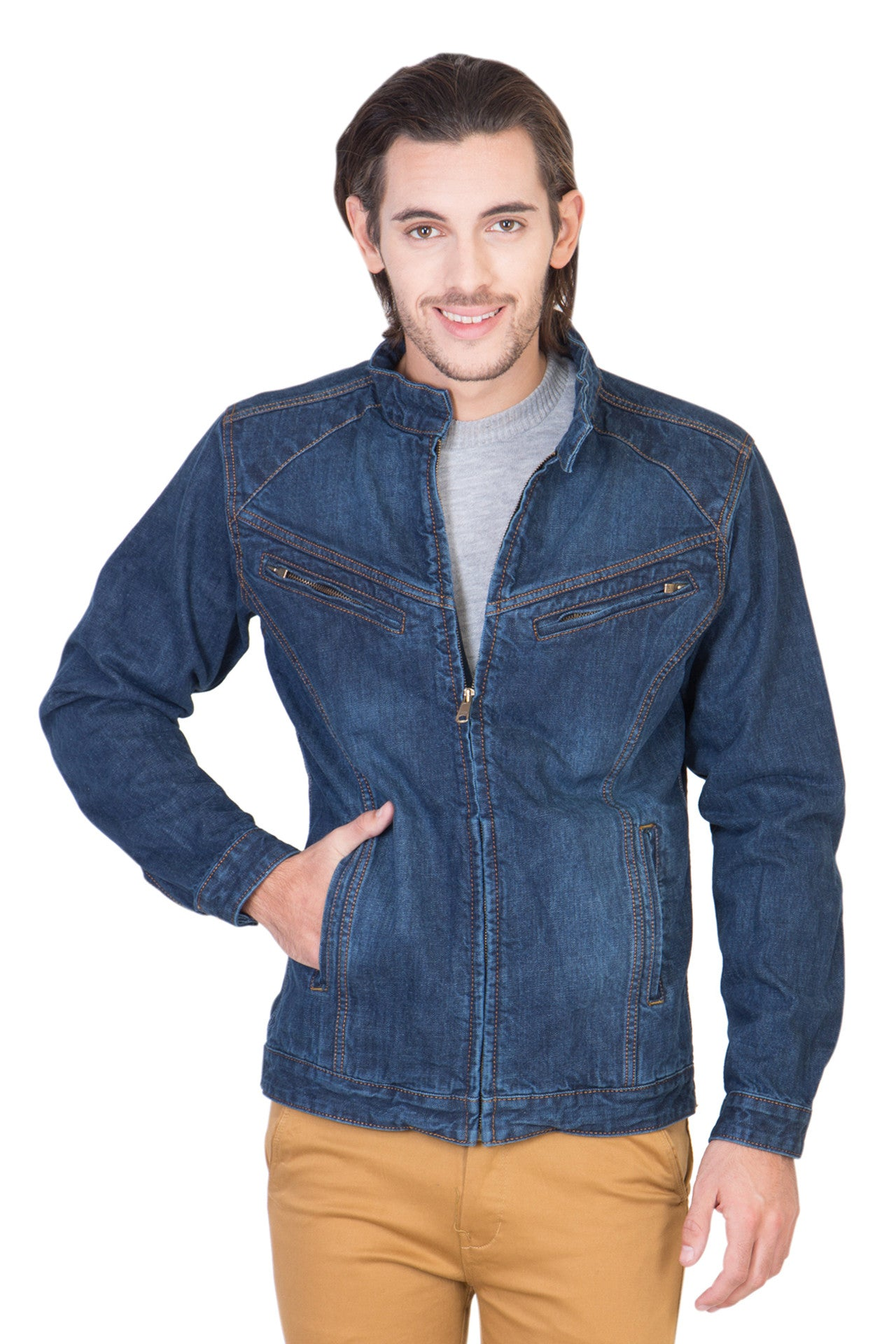 Full Sleeve Blue Men's Denim Jacket with Zipper