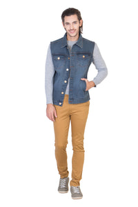 Sleeveless Tinted Blue Men's Denim Jacket with Brass Button
