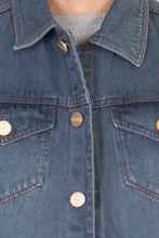 Load image into Gallery viewer, Sleeveless Tinted Blue Men's Denim Jacket with Brass Button