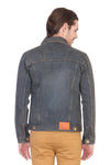 Full Sleeve Tinted Grey Men's Denim Jacket with Brass Button