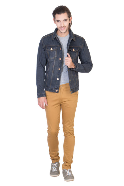 Full Sleeve Tinted Blue Men's Denim Jacket with Brass Button