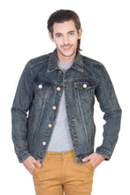 Load image into Gallery viewer, Full Sleeve Faded Blue Men's Denim Jacket with Brass Button