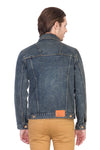 Full Sleeve Faded Blue Men's Denim Jacket with Brass Button