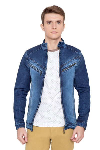 Krossstitch Full Sleeve Men's Denim Jacket with Zip Closer