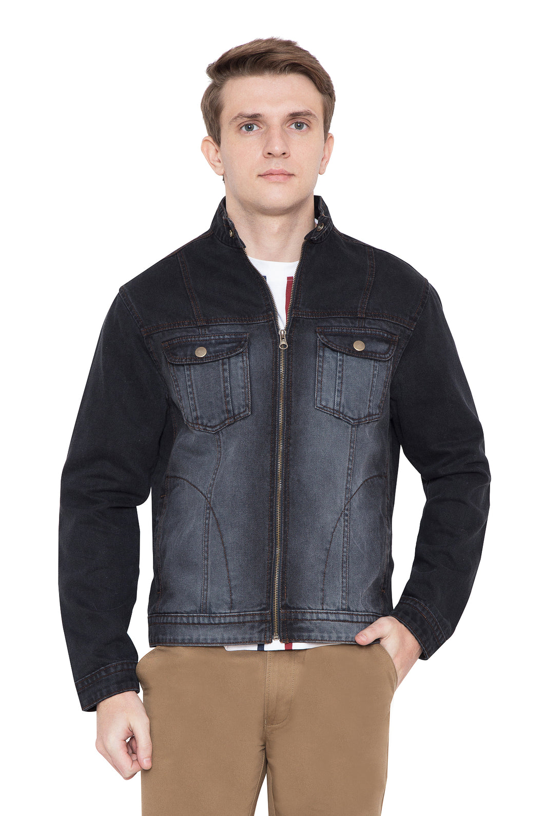 Krossstitch Full Sleeve Men's Denim Grey Jacket with Zip Clouser