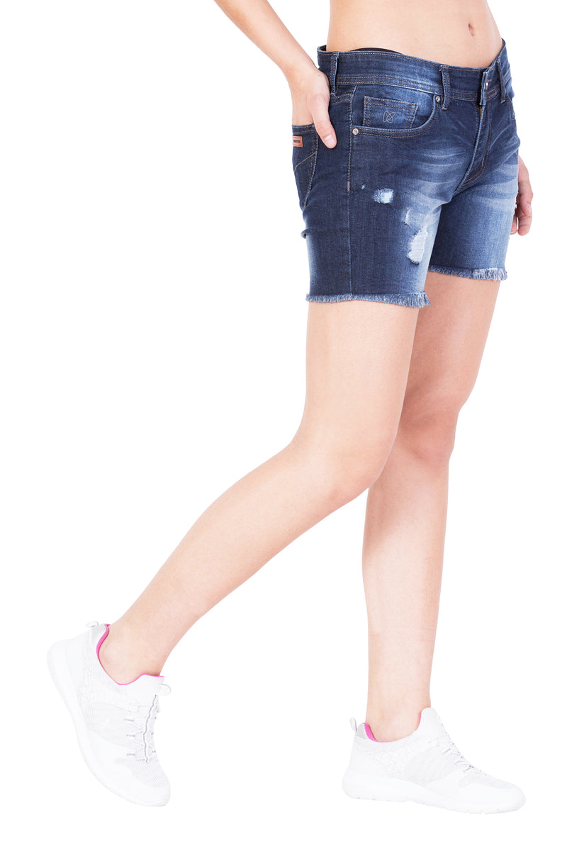 KROSSSTITCH High waist Denim Shorts Blue For Women
