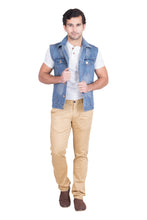 Load image into Gallery viewer, Krossstitch Sleeveless Light Blue Men's Denim Jacket with Brass Button