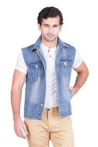 Krossstitch Sleeveless Light Blue Men's Denim Jacket with Brass Button