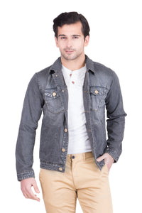 Krossstitch Full Sleeve Black Grey Men's Denim Jacket with Brass Button