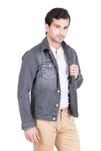 Load image into Gallery viewer, Krossstitch Full Sleeve Black Grey Men's Denim Jacket with Brass Button