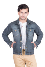 Load image into Gallery viewer, Krossstitch Full Sleeve Greyish Green Men's Denim Jacket with Brass Button