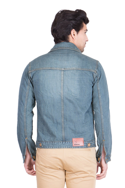Krossstitch Full Sleeve Greenish Blue Men's Denim Jacket with Brass Button