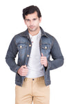 Krossstitch Full Sleeve Dark Grey Men's Denim Jacket with Brass Button