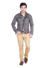 Load image into Gallery viewer, Krossstitch Full Sleeve Reddish Brown Men's Denim Jacket with Brass Button
