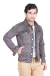 Krossstitch Full Sleeve Reddish Brown Men's Denim Jacket with Brass Button