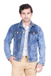 Krossstitch Full Sleeve Light Blue Cloud Wash Men's Denim Jacket with Brass Button