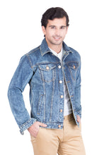 Load image into Gallery viewer, Krossstitch Full Sleeve Blue Men's Denim Jacket with Brass Button