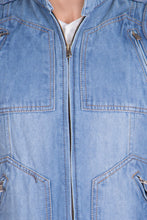 Load image into Gallery viewer, Krossstitch Sleeveless Light Blue Men's Denim Jacket with Zipper