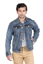 Load image into Gallery viewer, Krossstitch Full Sleeve Orange Blue Cloud Wash Men's Denim Jacket with Brass Button