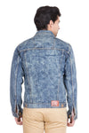 Krossstitch Full Sleeve Orange Blue Cloud Wash Men's Denim Jacket with Brass Button
