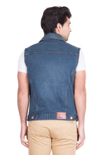 Load image into Gallery viewer, Krossstitch Sleeveless Dark Green Men's Denim Jacket with Brass Button