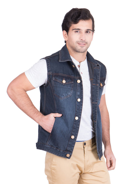 Krossstitch Sleeveless Black Grey Men's Denim Jacket with Brass Button