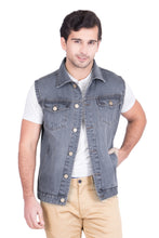 Load image into Gallery viewer, Krossstitch Sleeveless Light Tinted Grey Men's Denim Jacket with Brass Button