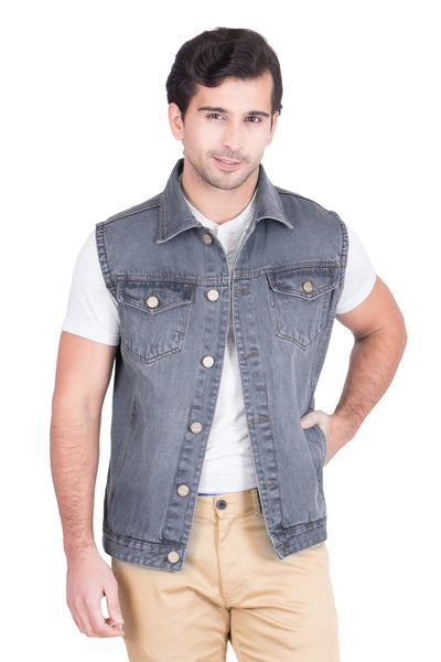 Krossstitch Sleeveless Light Tinted Grey Men's Denim Jacket with Brass Button