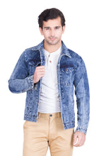 Load image into Gallery viewer, Krossstitch Full Sleeve Light Blue Cloud Wash Men's Denim Jacket with Brass Button