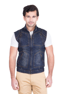 Krossstitch Sleeveless Dark Blue Men's Denim Jacket with Zipper