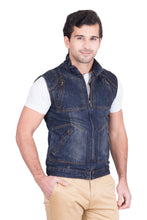 Load image into Gallery viewer, Krossstitch Sleeveless Dark Blue Men's Denim Jacket with Zipper
