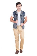 Load image into Gallery viewer, Krossstitch Sleeveless Orange Cloud Wash Men's Denim Jacket with Brass Button