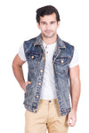 Krossstitch Sleeveless Orange Cloud Wash Men's Denim Jacket with Brass Button
