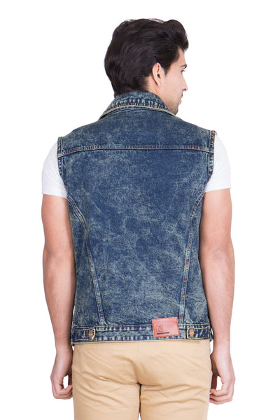 Krossstitch Sleeveless Green Cloud Wash Men's Denim Jacket with Brass Button