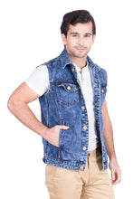 Load image into Gallery viewer, Krossstitch Sleeveless Blue Cloud Wash Men's Denim Jacket with Brass Button