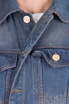 Krossstitch Sleeveless Light Grey Men's Denim Jacket with Brass Button