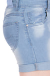 Kopyneko Women's Denim Light Blue Shorts