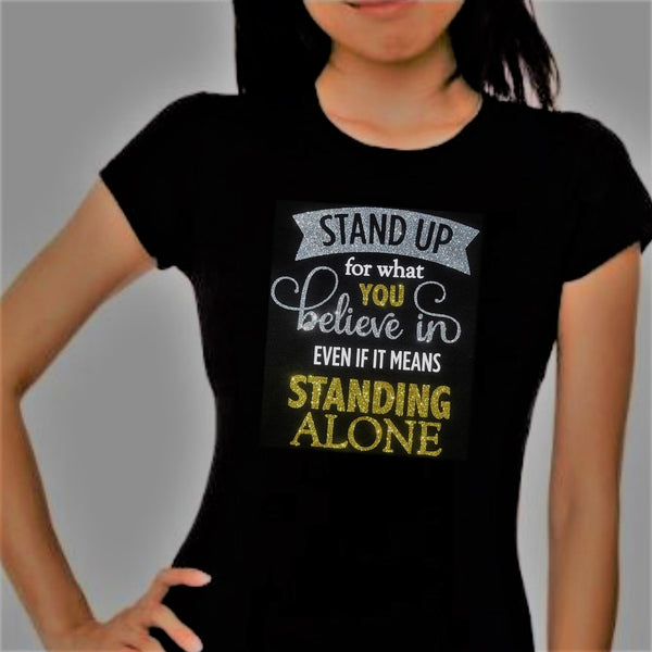 """Stand Up"" Sparkle Short Sleeve Tee - Women's"