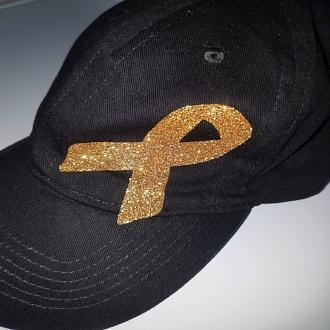 Gold Ribbon Baseball Cap - Glitter or Matte Ribbon